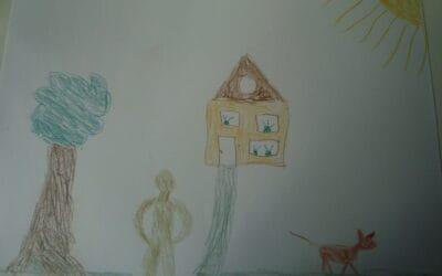 Huis boom mens dier tekening